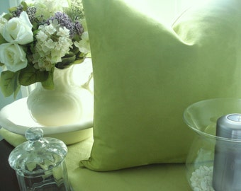 BOTH SIDES -Square and  Lumbers--Decorative  Designer Pillow Cover--Celery /Apple Green Textured- Soft  Suede Throw/Toss/Lumbar Pillow