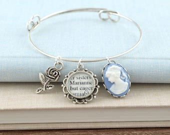 Sense and Sensibility - Jane Austen Bracelets – Literature Jewelry – Jane Austen Jewelry – Literary Gifts – Stacking Bracelet Set