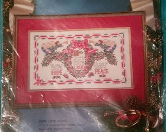 """Counted Cross Stitch kit """"Hope, Love Peace"""""""