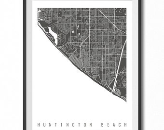 HUNTINGTON BEACH Map Art Print / California Poster / Huntington Beach Wall Art Decor / Choose Size and Color