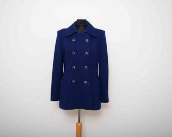 Dereta 1960's pure wool navy blue coat.  UK 12 EU 40 US 8 Aus 12