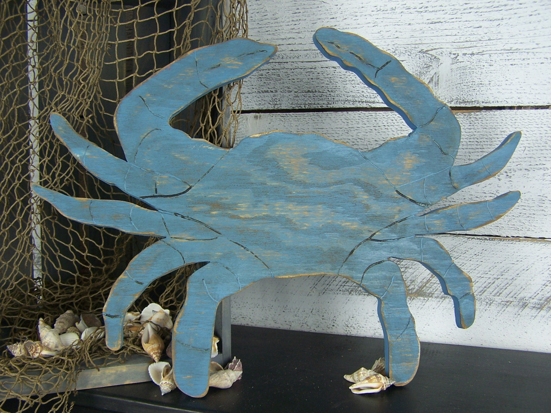 Wood Crab Decor Blue Crab Wall Art Maryland Crab Sign Beach
