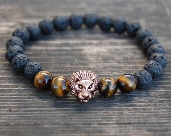 Lion Bracelet,Lava Stone Bracelet,Mens Lion Bracelet,Tiger Eye Stone Beads,Gift for Him,Bracelet for Men,Leo Lion Bracelet,Man,Lava Bracelet