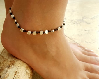 Black Anklet - Black Ankle Bracelet - Beaded Anklet - Foot Jewelry - Foot Bracelet - Chain Anklet - Summer Jewelry - Beach Jewelry