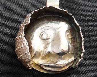 Sea urchin face silver Pendant