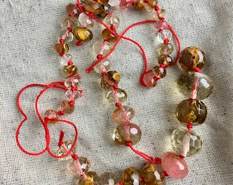Cherry Fire Quartz Graduated Beads, broken strand, 8 mm to 16 mm, 1 mm hole, 46 beads in lot, only 1 lot available