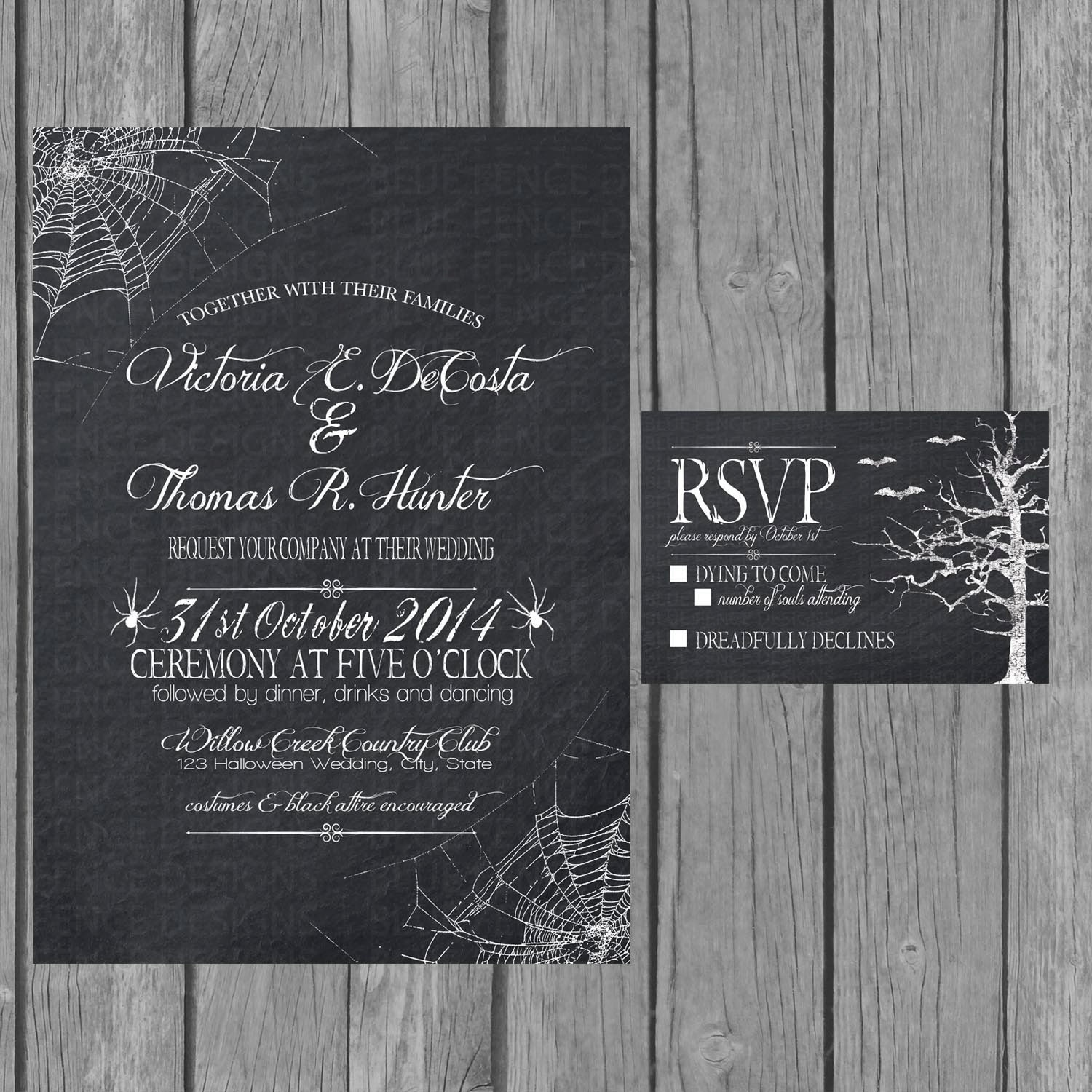 Digital Halloween Wedding Invitation Chalkboard Engagement - Wedding reception invitation templates free