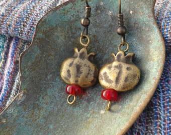 Brass Pomegranate earrings; bronze color pomegranate earrings; Rosh Hashana earrings; Rosh Hashana gifts; Bronze and red;Pomegranate symbol