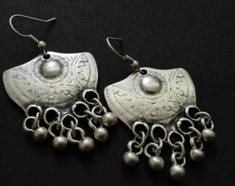 Tribal Kuchi Earrings | Ethnic Boho Bohemian Gipsy Earrings | Silver Plated Earrings | Afghan Earrings | Boho chic  Chandelier Earrings