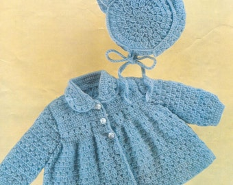Baby CROCHET PATTERN - Matinee Jacket and Bonnet - Bebe pattern -18- 20 inch chest