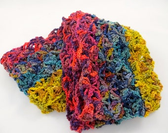 Scarf, Infinity, crochet, yellow, blue, red [SC13-22]