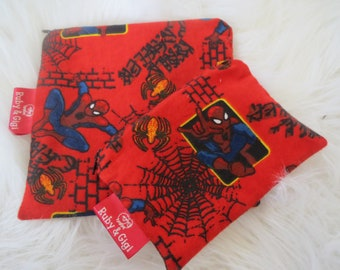 Spiderman Reusable sandwich and snack bag set! - Zippered pouch- fabric -eco friendly - Lined with Rip Stop Nylon-Ready to Ship!