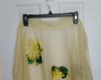 Vintage Yellow Apron with Flowers