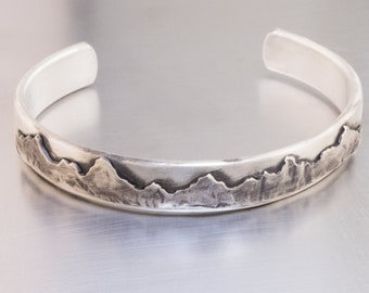MOUNTAIN LOVER Cuff Bracelet-Solid Sterling Silver