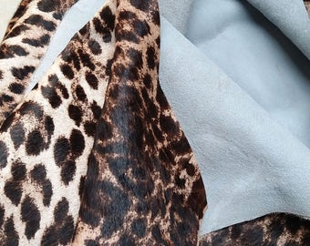 Leopard Print Hair-on cowhide Leather - 1 square metre (40'' x 40'') - 2 mm thick (5oz)