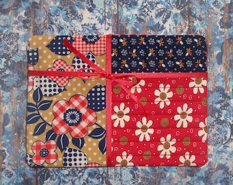 Fun Funky Floral Fabric Snack Mat Mug Rug Set of 4