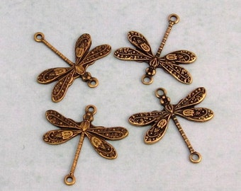 Dragonfly Connector, Brass Ox, 4 Pieces AB80