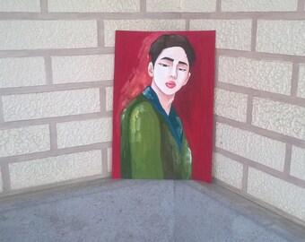 Paintings portrait gouache painting paper paintings boy man modern art modern painting modern portrait asian boy gouache original Gift