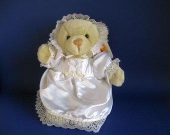 Vintage Christening Bear Stuffed Animal by Dakin White Satin Christening Gown and Bonnet Teddy Bear 1990s Toys Baby Gift Original Paper Tag