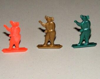 Vintage Tiny Lot of Three Bears  Animal Stand Ups Prize Premium