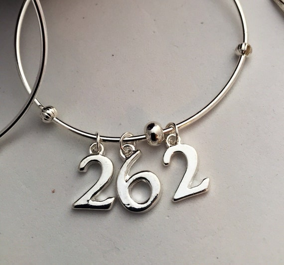 Runner Jewelry, Marathon Charm Bracelet, Runner Wire Bracelet, Marathon or Half Marathon Gifts, Sports Charms, Numbers Charms, Race Jewelry