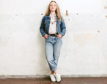 90s Denim Jacket . Women Vintage Grunge Denim Jacket Distressed Faded Jacket Stonewashed Blue Denim Jean Jacket Trucker Jacket . size Small