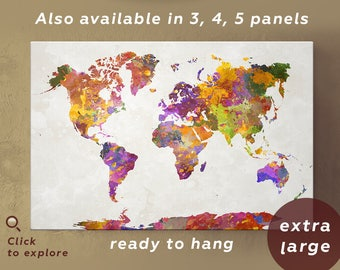 Large Colorful World Map Canvas Poster Set, Extra Large Watercolor World Map Print art abstract / 1,2,3,4 or 5 Set Panels on Canvas Wall Art