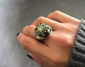 White Queen Anne's Lace against Black in Antique Bronze Bezel Resin Ring, Statement Ring, Pressed Flowers, Valentine's Day