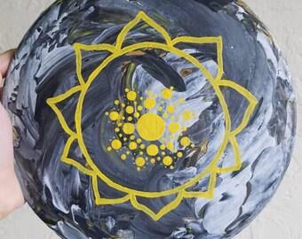 3rd Chakra Yellow Mandala Acrylic Painting Round Stretched Canvas
