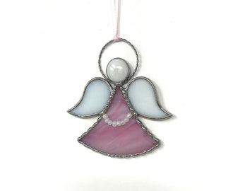 Pink Angel Stained Glass Ornament | Angel Suncatcher | Remembrance Angel | Christmas Ornament | Personalize |Guardian Angel