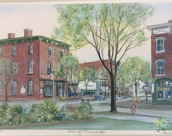 View of Rhinebeck, Hudson valley town. autumn scene of Rhinebeck  New York