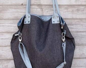 Denim tote bag, FREE PERSONALISATION bag, Blue handbag, Large tote bag, Tote with zipper, Shopping bag, Bag for student, College handbag