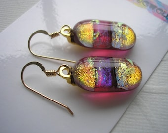Orange, Red-Violet, and Gold Earrings, Dichroic Glass, 14 GF Earwires, Dangle Earrings, Fused Glass Jewelry, Drop Earrings, Home Crafted