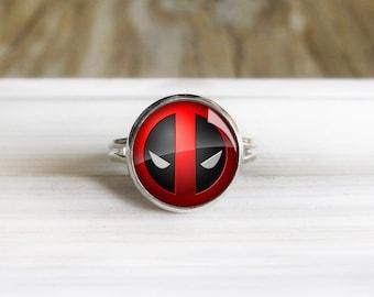 Deadpool Ring- Adjustable Silver Ring - 14mm