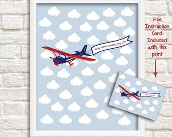 Airplane Baby Shower Keepsake Alternative Guestbook, Airplane Guest Signature Print, Airplane Sign-in Print, Approx. 46 signatures
