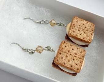 Smores, Smores Gift, Foodie Hostess Gift, Unique Foodie Gifts, Jewelry for Foodie, Marshmallows, Gift for Her, Girl Scout Mom, Campfire