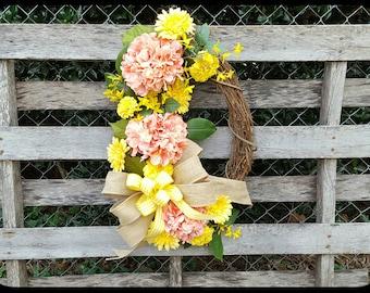 Hydrangea Wreath-Floral Wreath-Grapevine Wreath-Spring Wreath-Summer Wreath-Coral Wreath-Door Wreath-Year Round Wreath-Mother's Day Gift
