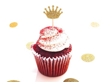 24 Gold Glitter Crown Cupcake Toppers - Food Picks - Party Picks