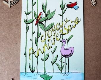 Happy birthday postcard - Illustration - pink Flamingo Collection 2017