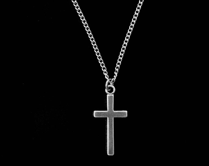 Silver cross necklace with stainless steel chain, Gift for him, Gift for her, Scripture Proverbs 3:5-6 Trust in the Lord, Faith Jewelry