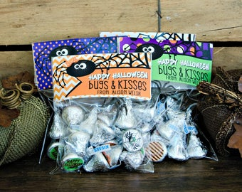 Personalized Bugs & Kisses Halloween Stickers | Bags!