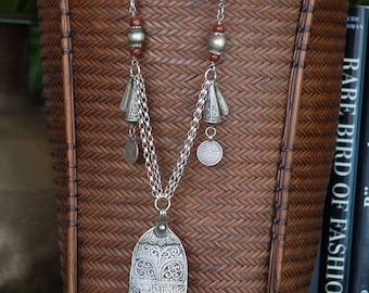 Moroccan Hamsa Necklace   Berber Silver   old ethnic silver   antique carnelian   Afghan silver   long khamsa necklace   hamsa hand amulet