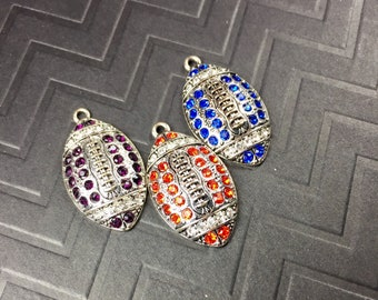Crystal Football Charms ... Various Colors Available ... Sold Individually