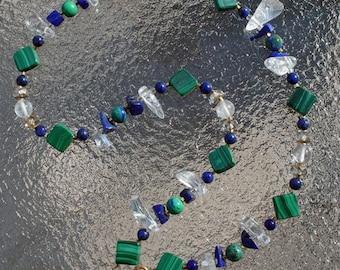 RIVER RAPTURE II Necklace (Malachite, Lapis, Quartz, Azurite)