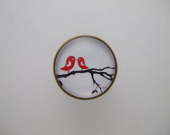 """Ring """"Cheep-cheep"""" cabochon gem with black and Red Branch bird"""