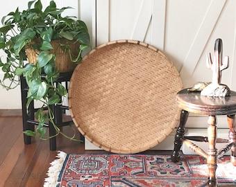 Vintage XL Natural Wall Basket  • Woven Bamboo Basket • Bohemian Decor
