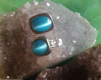 Vintage, earrings, earrings, earrings, Earclips, ice blue, Iceblue, blue, light blue, silver, silver,