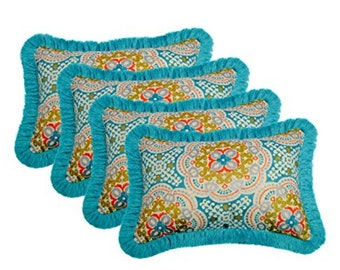 "Set of 4-In/Outdoor Throw Pillow-Astrid Aqua w/Aruba Fringe - 12"" x 20"""