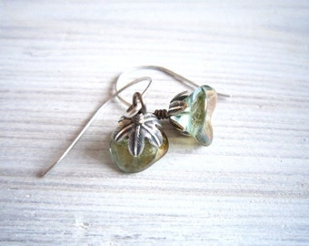 Fleur II Posy Drop Earrings in Aquamarine and Silver
