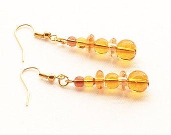 Golden Glass Earrings, Amber Drop Earrings, Golden Beaded Earrings On Gold-Plated Ear-Wires
